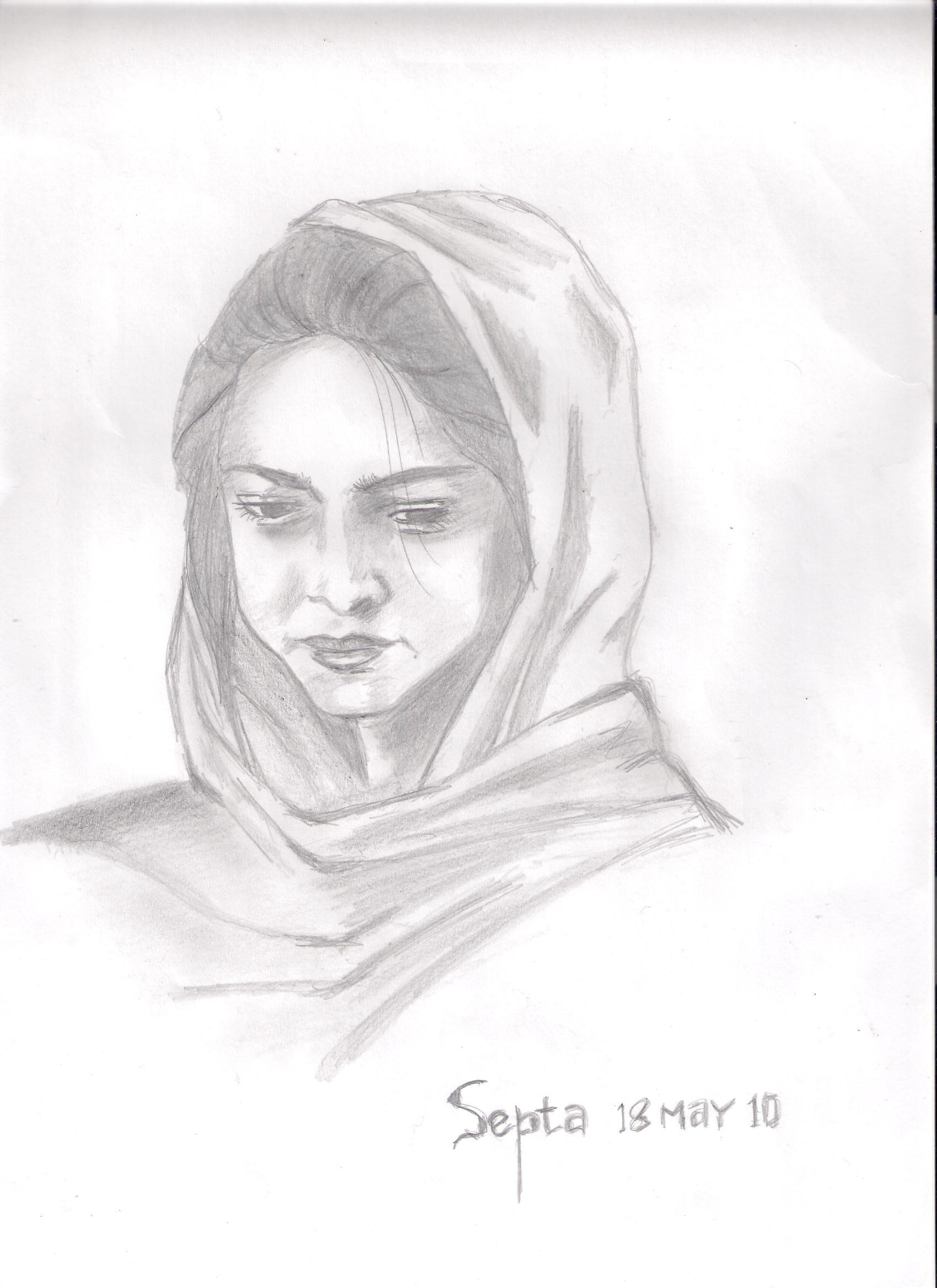 Gambar Sketsa Wajah Wanita Berjilbab